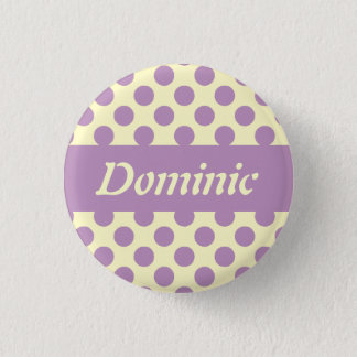 Purple Polka Dots Personalized Pinback Buttons
