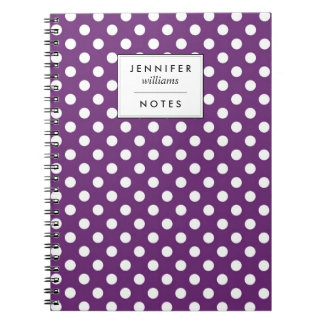 Purple Polka Dots Personalized Spiral Note Book