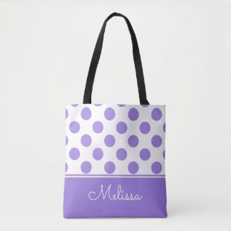 Purple Polka Dots | Personalized Tote Bag