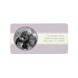 Purple Polka Dots Photo Horizontal White Stripe Label
