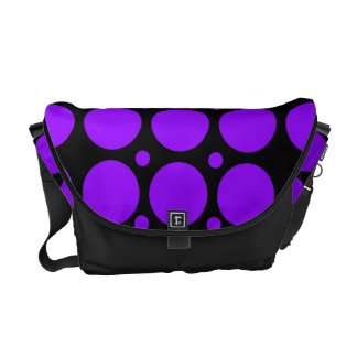 Purple Polka Dots Rickshaw Messenger Bag