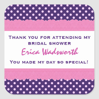Purple Polka Dots Thank You Bridal Shower V36 Square Sticker