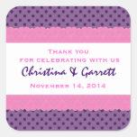 Purple Polka Dots Thank You Double Lace Wedding V1 Sticker