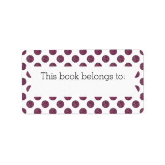 """Purple Polka Dots """"This Book Belongs To"""" Labels"""
