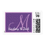 Purple Polka Dots Wedding Ver 03 S533 Postage Stamps