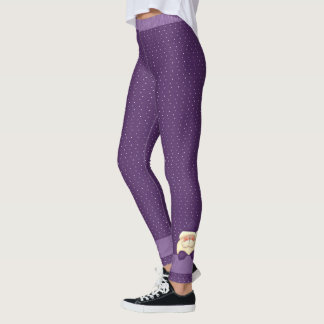 Purple Polka Dots with Santa Leggings