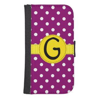 Purple Polka Dots, Yellow Ribbon, Wallet Style Phone Wallet Cases