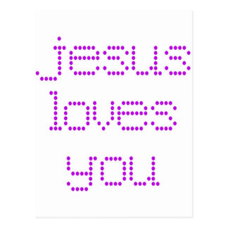 Purple Polkadot Jesus Loves You! Postcard