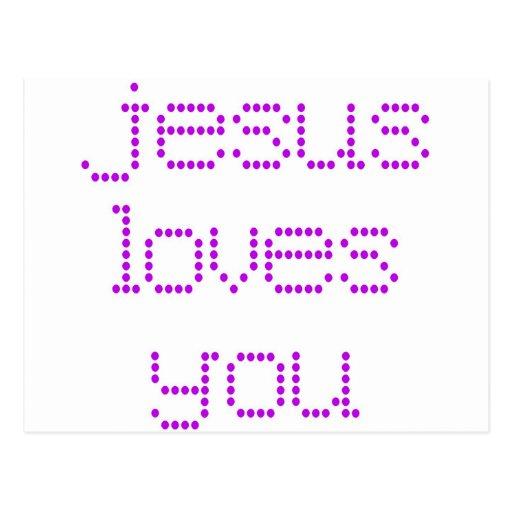 Purple Polkadot Jesus Loves You! Postcard