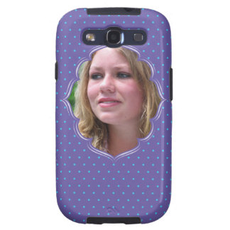 Purple polkadot photo frame galaxy SIII case