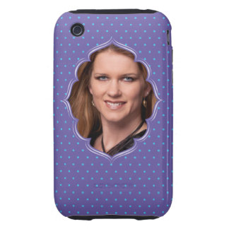Purple polkadot photo frame tough iPhone 3 covers
