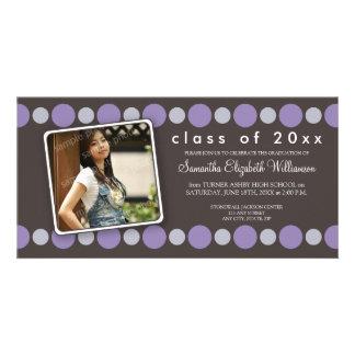 Purple Polkadots Custom Graduation Announcement Photo Greeting Card