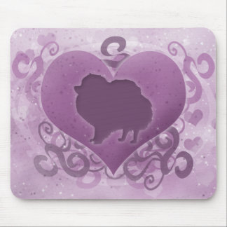 Purple Pomeranian Valentine Mousepads