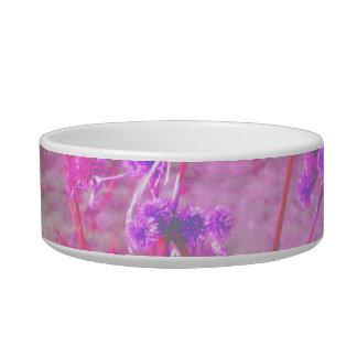 Purple pond plants background cat food bowls