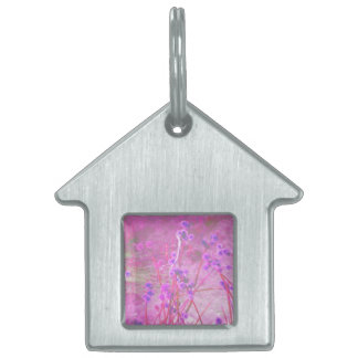 Purple pond plants background pet tag