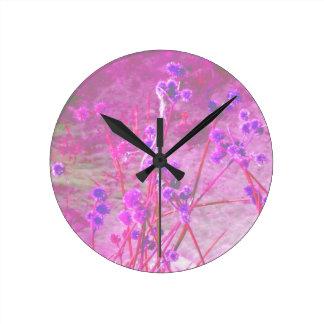 Purple pond plants background round clock