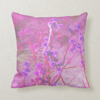 Purple pond plants background throw pillow
