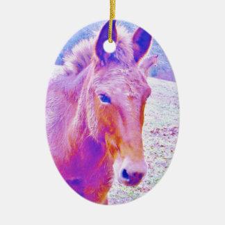 Purple Pony Rainbow Horse : add name Ceramic Ornament