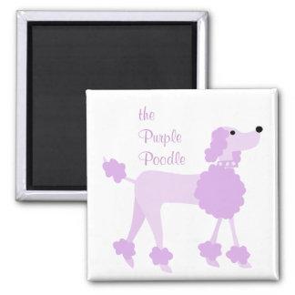 Purple Poodle 2 Inch Square Magnet