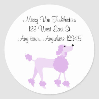 Purple Poodle Classic Round Sticker
