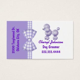 Purple Poodle Dog Groomer Business Card