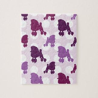 Purple Poodle Polka Dot Jigsaw Puzzles