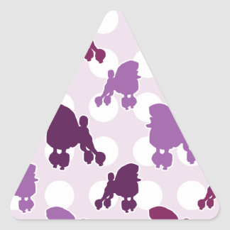 Purple Poodle Polka Dot Triangle Sticker