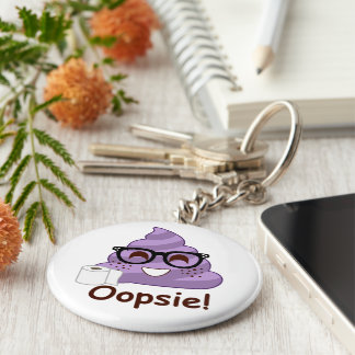 Purple Poop Emoji Oops Keychain