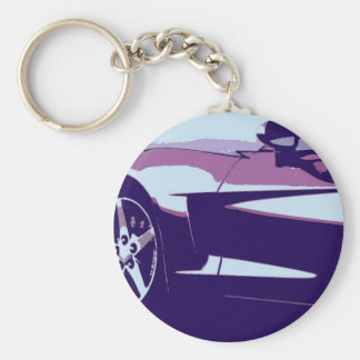 Purple Pop Art Corvette Basic Round Button Keychain
