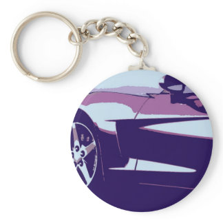 Purple Pop Art Corvette Keychain