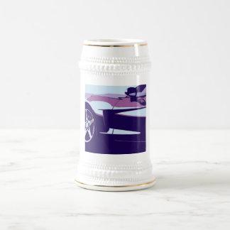 Purple Pop Art Corvette 18 Oz Beer Stein