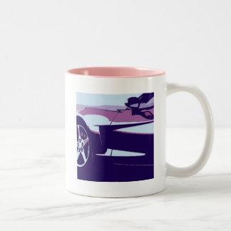 Purple Pop Art Corvette Two-Tone Coffee Mug