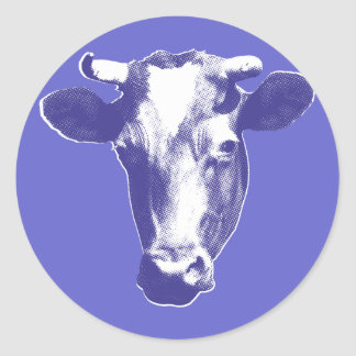 Purple Pop Art Cow Classic Round Sticker