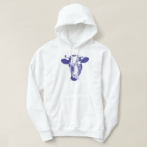 Purple Pop Art Cow Graphic Hoodie