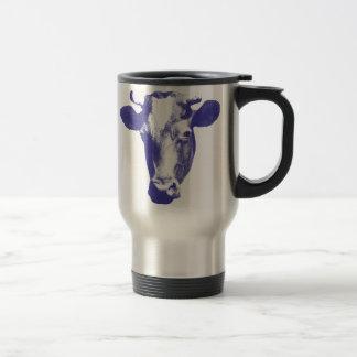 Purple Pop Art Cow Graphic Travel Mug