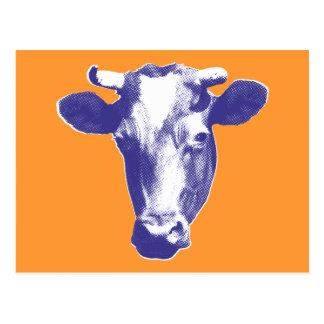 Purple Pop Art Cow Postcard