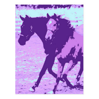 Purple Pop Art Horses Postcard