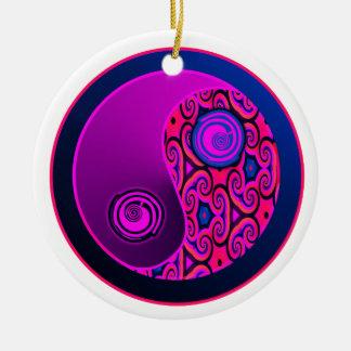 Purple Pop Swirls Yin Yang Ornament