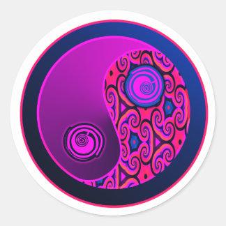 Purple Pop Yin Yang Classic Round Sticker