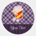 Purple Popcorn Round Stickers