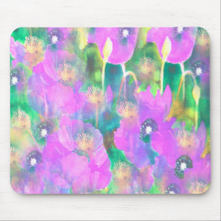 Purple Poppies Design Mouse Pad