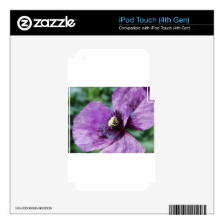 Purple Poppies / Violet Decals For iPod Touch 4G