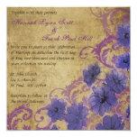 Purple Poppy and Flourish Vintage Wedding Invitati Custom Invite