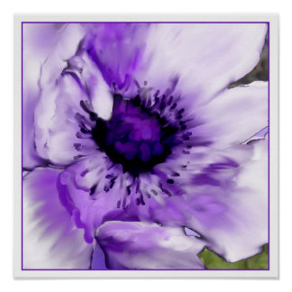 Purple Poppy Digital Painting Poster