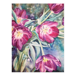 Purple Poppy Floral Watercolor Easter Greetings Post Cards