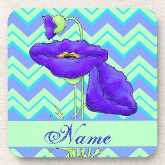 Purple Poppy Green Chevron Zizzag Personalized Drink Coaster