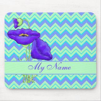 Purple Poppy Green Personalize Chevron Zizzag Mouse Pad