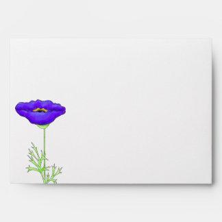 Purple Poppy Green Turquoise Chevron ZizZag Envelope
