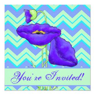 Purple Poppy Green Turquoise Chevron Zizzag Invite
