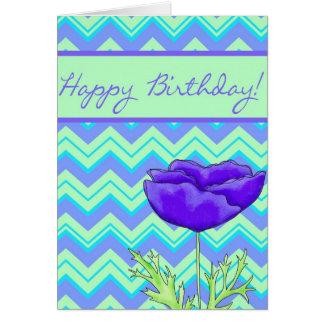 Purple Poppy Green Zizzag Chevron Birthday Greeting Card